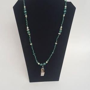 Beaded Badge Holder Necklace Handmade